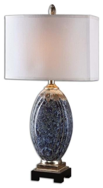 Ocean Blue Sculpted Ceramic Table Lamp