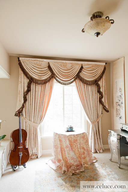 Peony Pavilion Valance Curtains With Swags And Tails