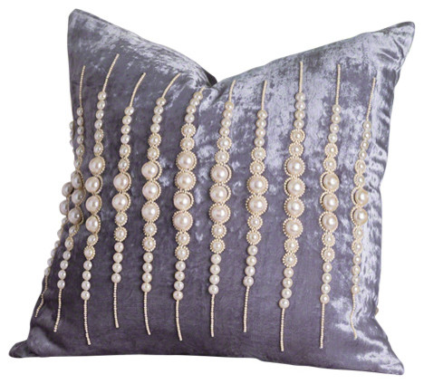 Modern Country Pillows : Global Views - French Country Modern Velvet Strands of Pearls Powder Room Pillow & Reviews Houzz