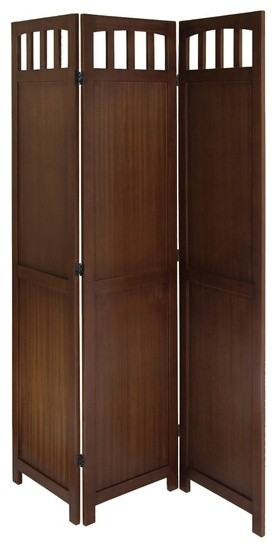 3 Panel Wooden Folding Room Divider Screen Walnut Finish