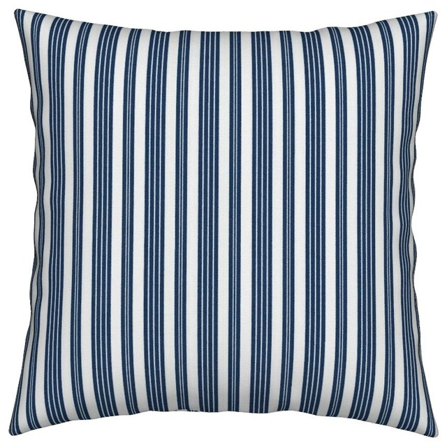 French Ticking Woven Blue Stripes Throw Pillow, Organic Sateen Fabric, Cover Onl