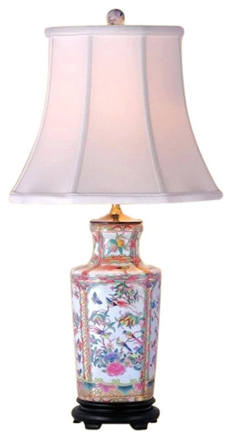 Oriental Chinese Porcelain Rose Canton Vase Table Lamp 265 Asian