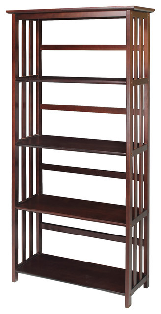 Mission 5 Shelf Bookcase, Walnut