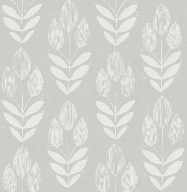 Garland Dove Gray Scandinavian Block Print Tulip Wallpaper