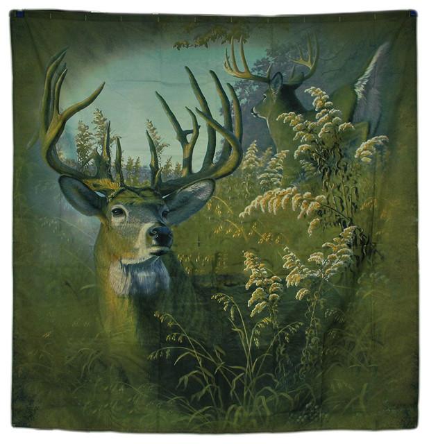 70Twin Bucks Whitetail Deer Fabric Shower Curtain