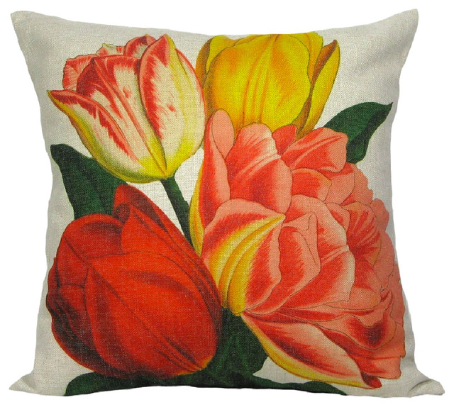Traditional Throw Pillows : Tulips Throw Pillow Case - Traditional - Decorative Pillows - by Golden Hill Studio