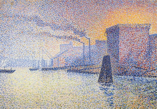 """Georges Lemmen Factories on the Thames, 18""""x27"""" Wall Decal"""