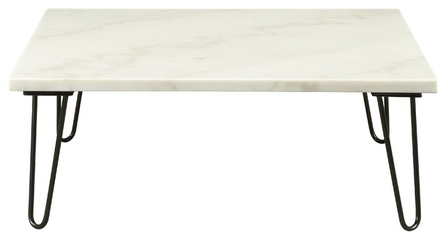 Coffee Table In Marble And Black- Marble, Plywood, Metal