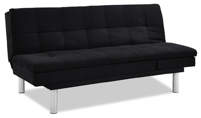 Lifestyle Solutions Siena Convertible Sofa, Black Contemporary Futons