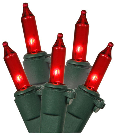 Red Mini Christmas Lights, Green Wire, Set Of 100.