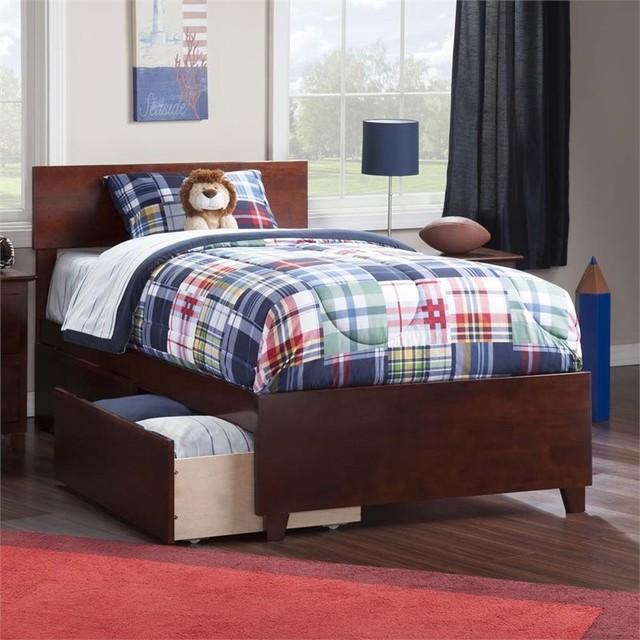 Attirant Atlantic Furniture Orlando Twin XL Storage Platform Bed, Walnut  Transitional Kids Beds