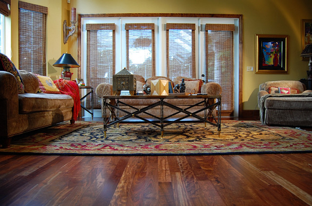 Caribbean rosewood hardwood floor tropical living room tampa by through the woods fine for Living room floor designs pictures