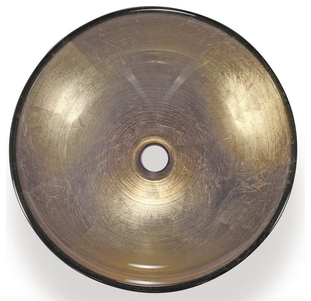Vessel Sink In Metallic Gold And Brown.