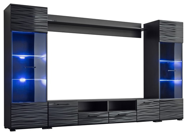 Modica Modern Entertainment Center Wall Unit With Blue Led Lights