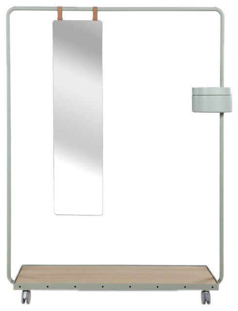 Dolores Modern Decorative Clothes Rack And Mirror Gray