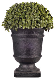 Artificial Half Ball Boxwood Topiary In Black Urn