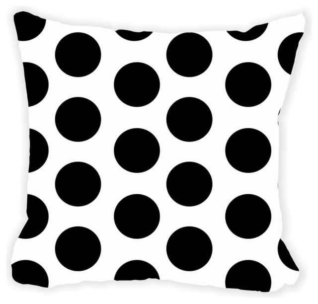Polka Dots Double-Sided Pillow, Black On White, No Fill.