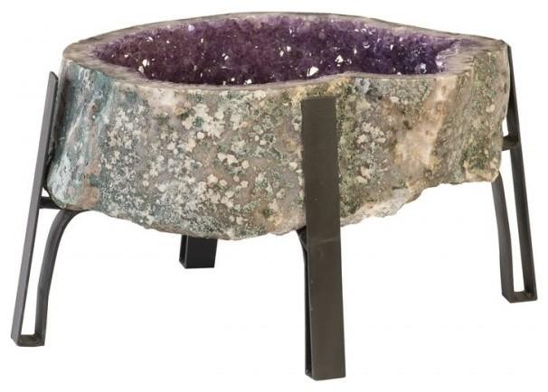 Marvelous 27 L Side Table Free Form Purple Amethyst Solid Crystal Modern Metal Base Home Interior And Landscaping Ferensignezvosmurscom