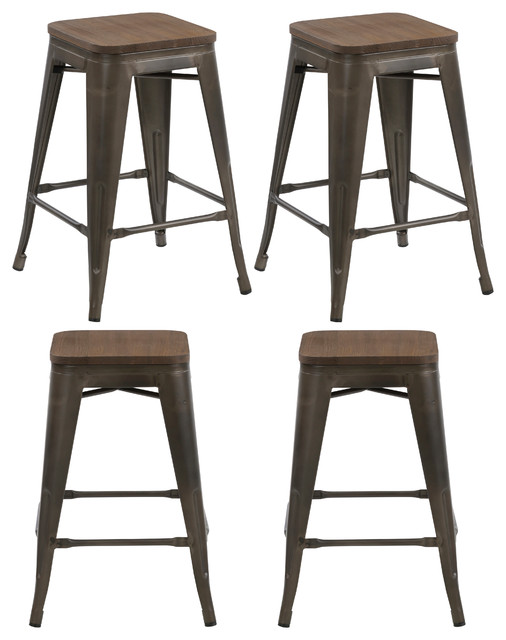 24 Quot Metal Vintage Style Rustic Distressed Bar Stools