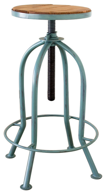 Adjustable Bar Stool With Recycled Wood Blue Industrial