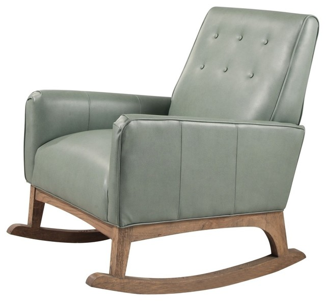Surprising Abbyson Living Baker Mid Century Leather Rocker Mint Green Ibusinesslaw Wood Chair Design Ideas Ibusinesslaworg