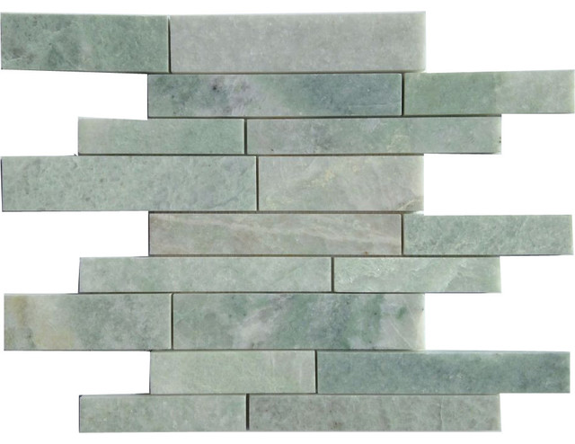 12 X12 Ming Green Random Pattern Polished Marble Mosaic Small Piece Sample