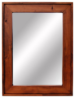 Wooden mirror cherry wood stained mirrors rustic wall mirrors by mybarnwoodframes decor inc for Cherry wood framed bathroom mirrors