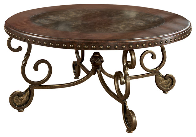 Ashley Furniture Homestore Ashley Rafferty Dark Brown Round Cocktail Table Side Tables And End