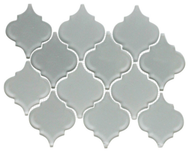 """11.81""""x8.6"""" Gray Frosted and Glossy Teardrop Glass Tile Mosaic"""
