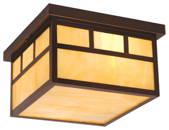 Vaxcel Lighting OF37211BBZ Mission Transitional Outdoor Flush Mount Ceiling  Ligh Craftsman Outdoor Flush