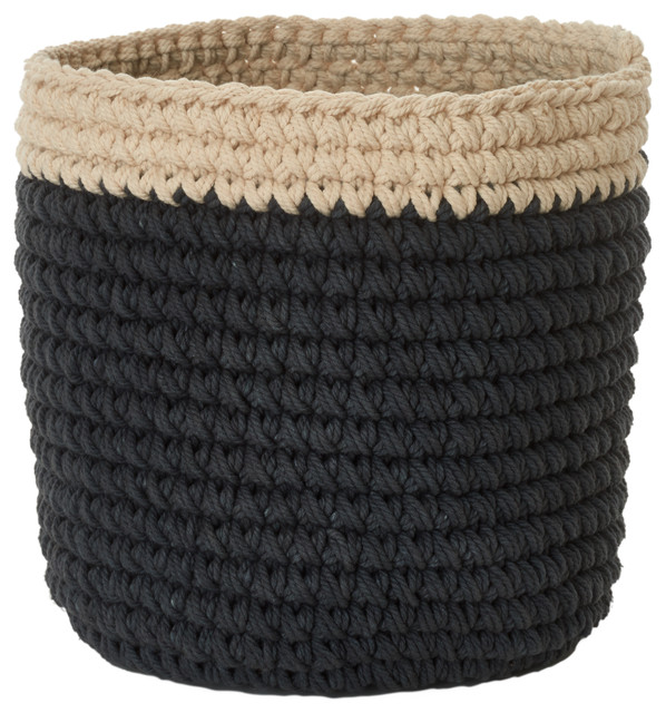 Handmade Crochet Basket, Charcoal, Small