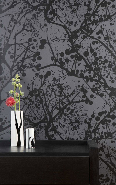 Wallpaperbathroom on Black Lacquer  Wallpaper By Ferm Living Contemporary Wallpaper