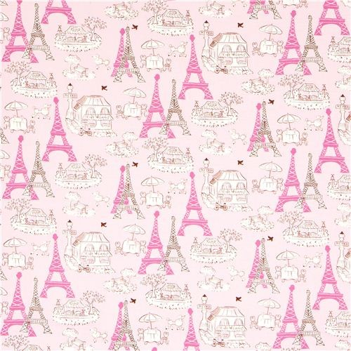 Pink fabric paris eiffel tower bistro by robert kaufman