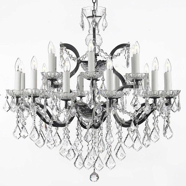 "Gallery T22-1203 Versailles 18 Light 30"" Wide 2 Tier Chandelier with Crystal Ac"