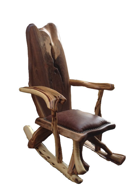 Walnut And Juniper Rocking Chair Rustic Rocking Chairs