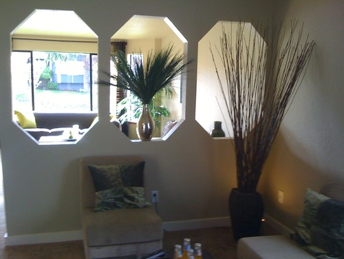 Divider Wall With Cut Outs Creates A Lack Of Privacy