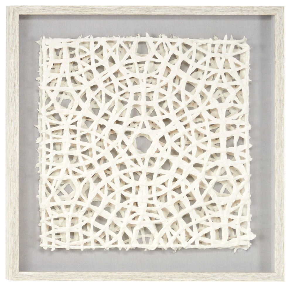 White Hand Cut Paper Abstract Art Shadow Box Square White Frame
