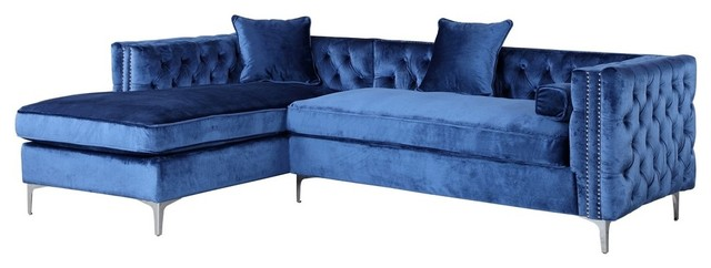 Da Vinci Velvet On Tufted Left Facing Sectional Sofa Navy Blue