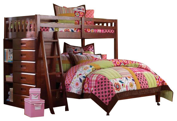loft bed with futon l shaped bunk beds with dresser transitional bunk beds 7147