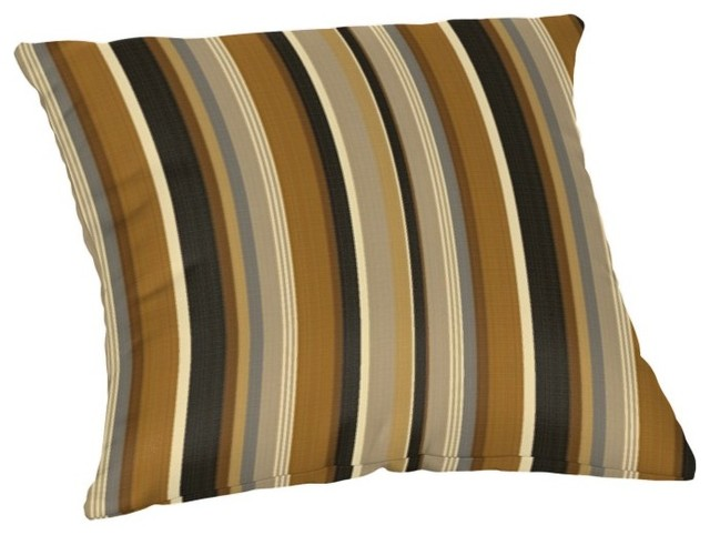 Sunbrella Throw Pillow, Espresso Stripe