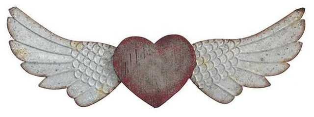 Wood And Metal Heart And Wings Wall Decor - Farmhouse - Metal Wall ...