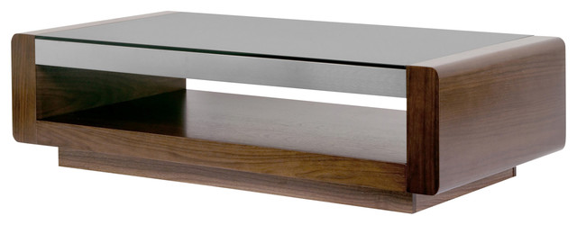 Aira Walnut Finish Coffee Table With Metal Accent And Tempered Gl Top