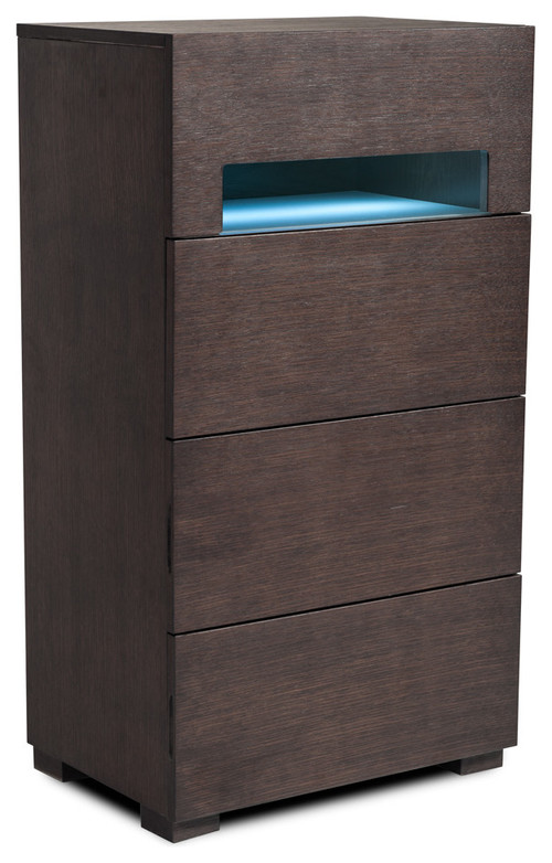 Ceres Brown Oak and Gray Chest With LED Light