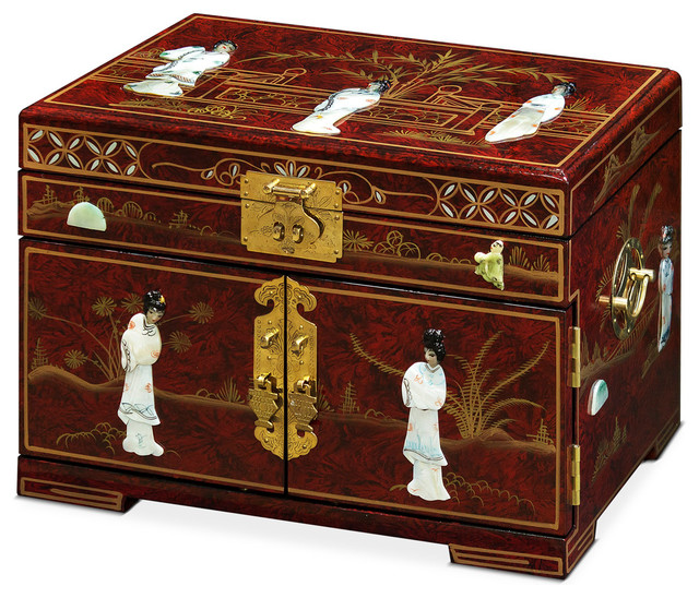 Jewelry Box With Mother Of Pearl Maidens On Black Lacquer Red