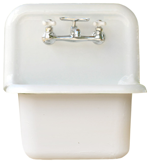 New Wall Mount Cast Iron Utility Sink Deep Basin High Back