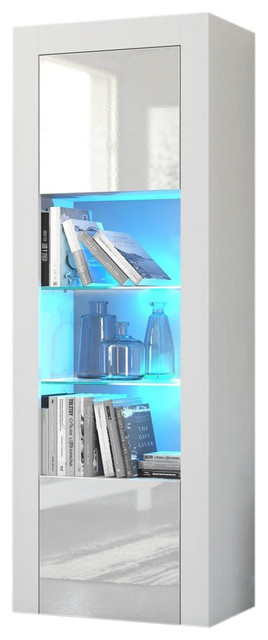 Milano Bookcase Matte Body & High Gloss Fronts, White. -1