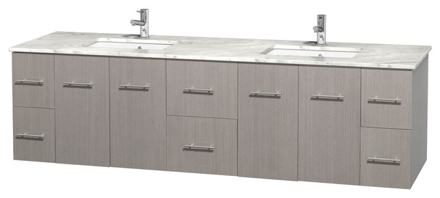 "Centra 80"" Double Vanity, Square Sinks, Gray Oak, White Carrera Marble."