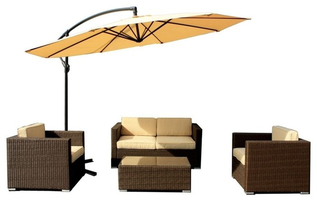 5 Piece Outdoor Wicker Patio Furniture Sofa Set, Rustic Dark Brown Tropical  Outdoor