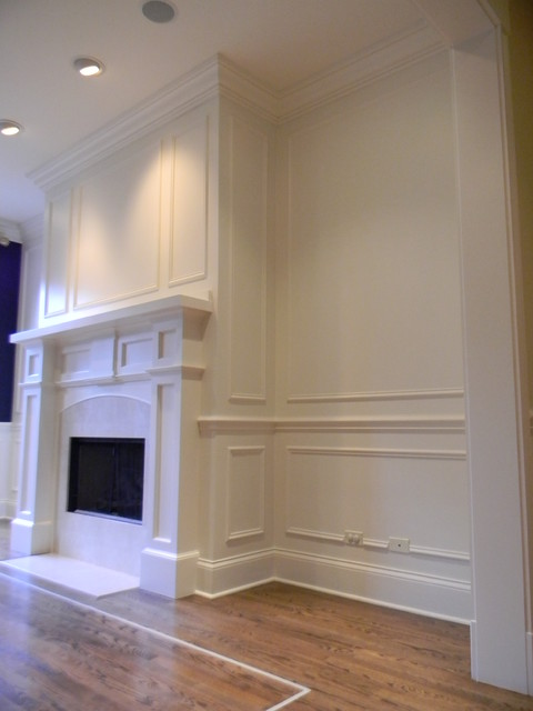 Custom Fireplace Mantel With Wainscoting And Crown Mouldingtransitional Living Room