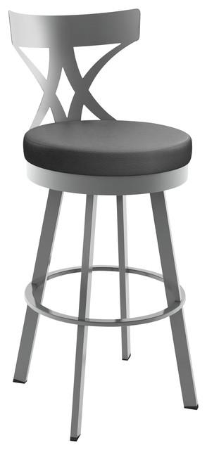 Washington Swivel Stool, Base: Glossy Gray, Bar Height, Seat: Matte Charcoal Bla